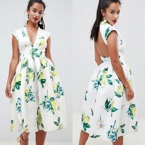 ASOS Lemon Print Scuba Open Back Flare Dress